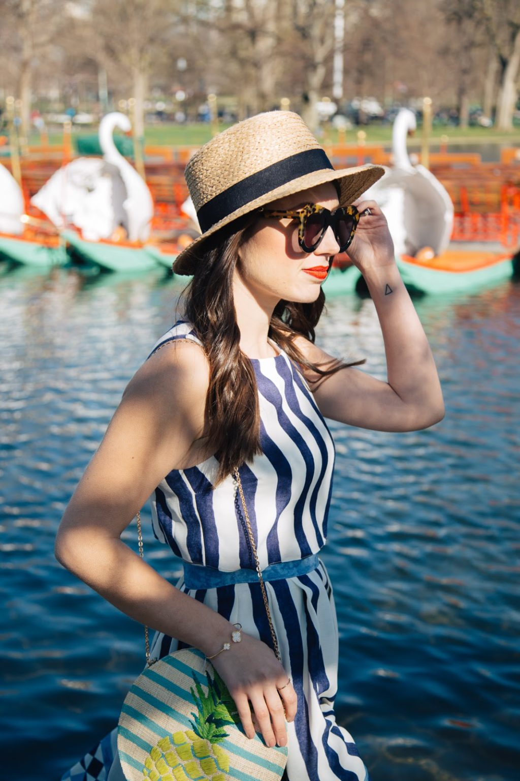 Hold on to your hat! A straw boater is perfect for a sunny spring day in Boston.
