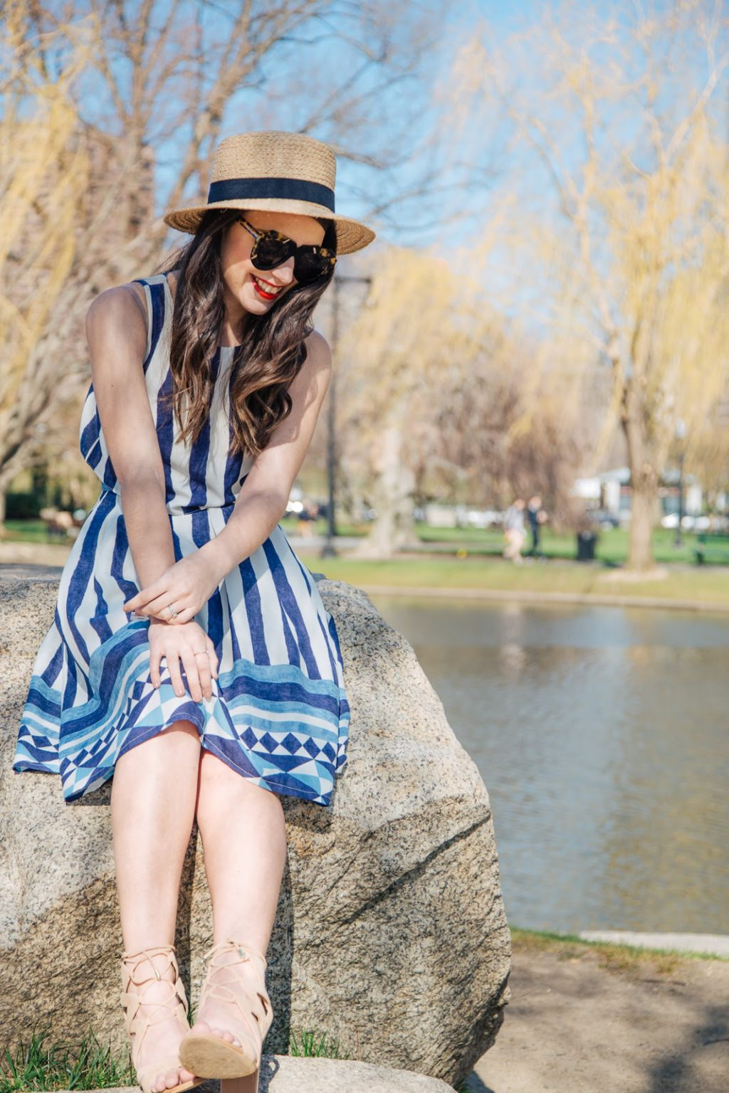 Wearing the Ashbury set from Everly and a straw Sole Society boater for a sunny day in the park