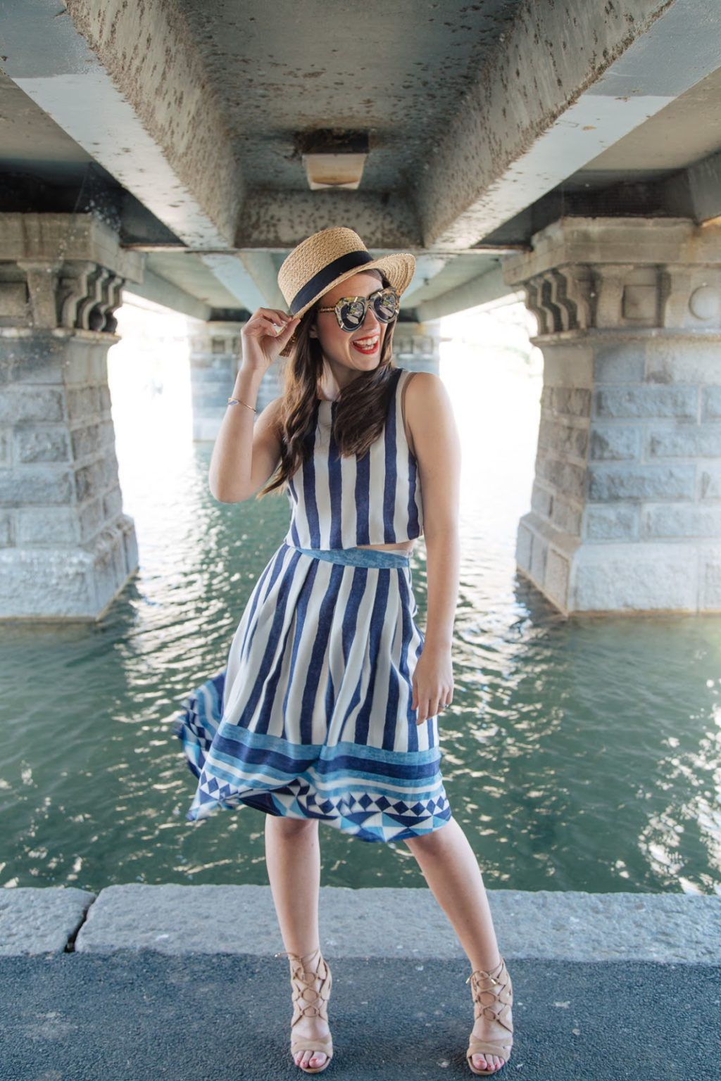 Wearing a spring fresh look with vintage flair for a sunny day in Boston's Public Gardens