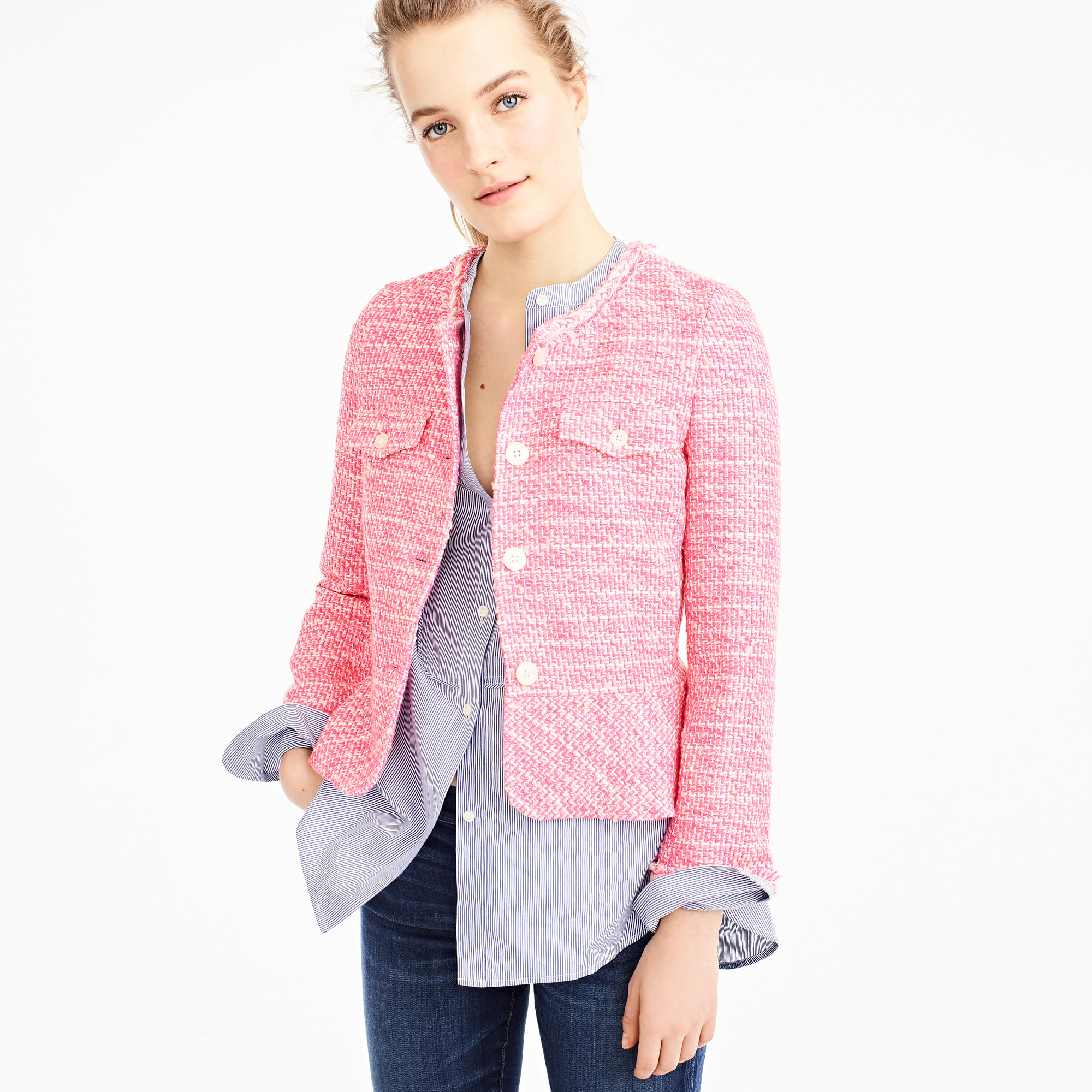 Neon pink lady jacket from J.Crew