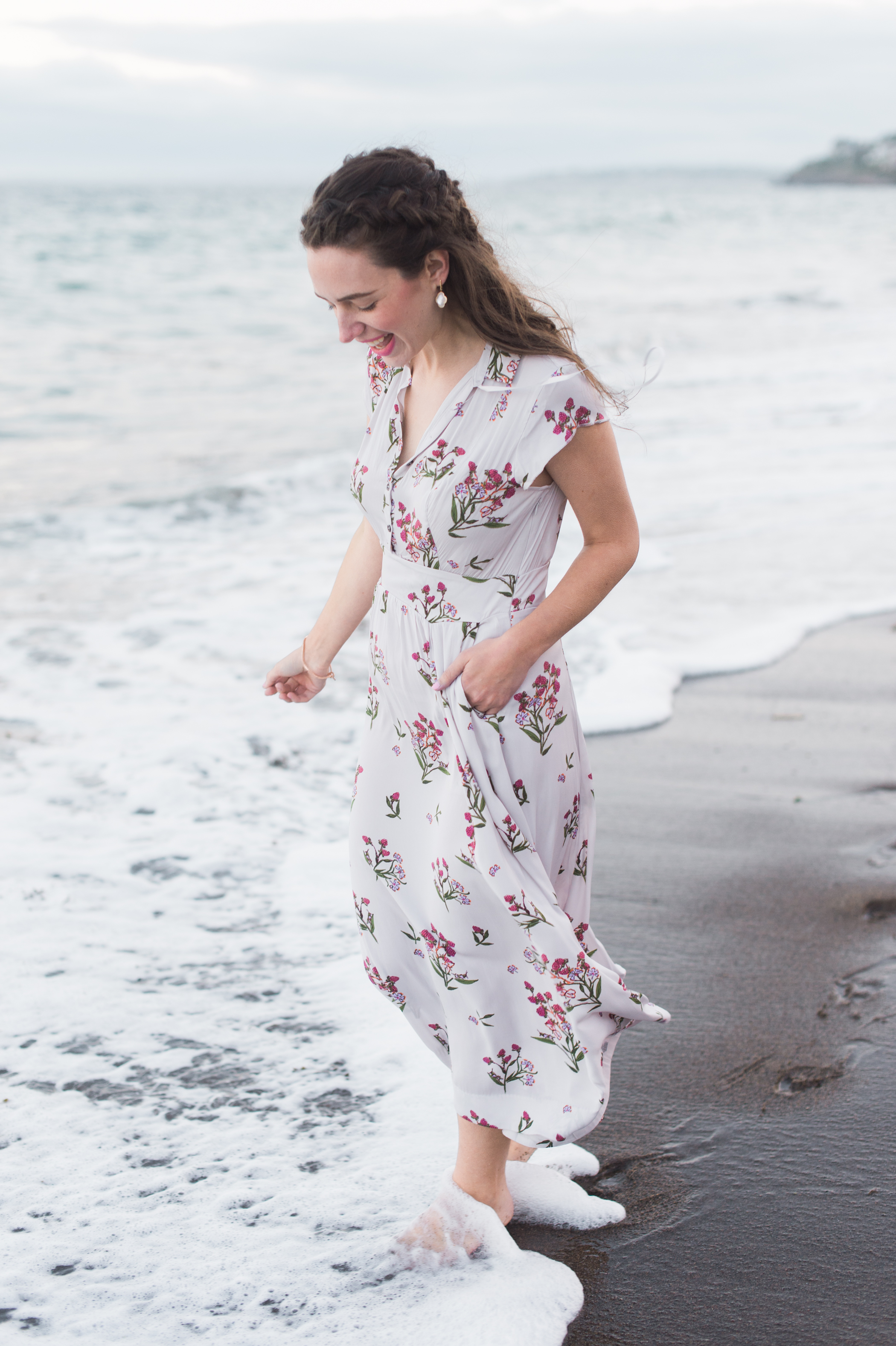Wearing the prettiest floral dress from Free People