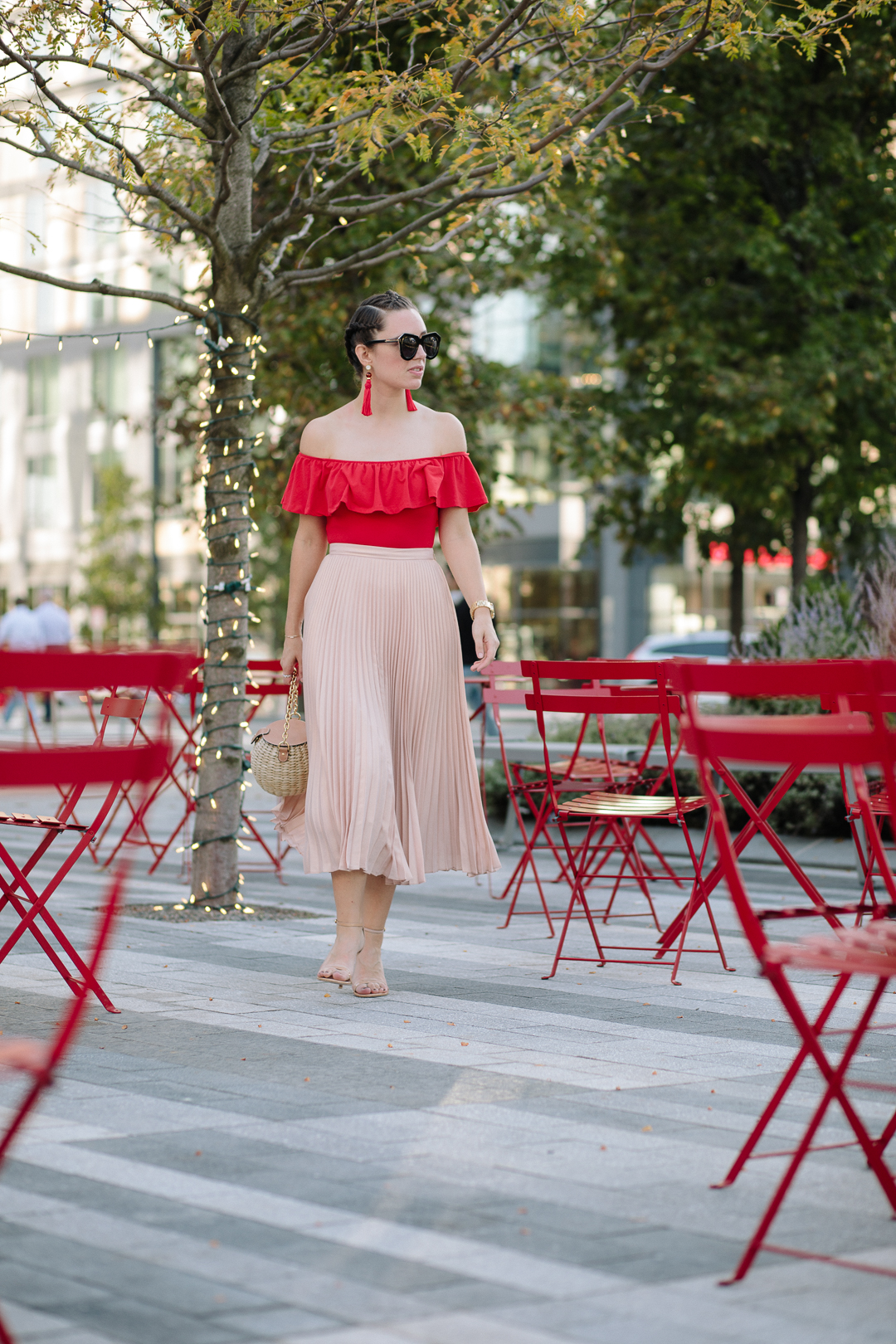 Wearing pink and red for a bold look