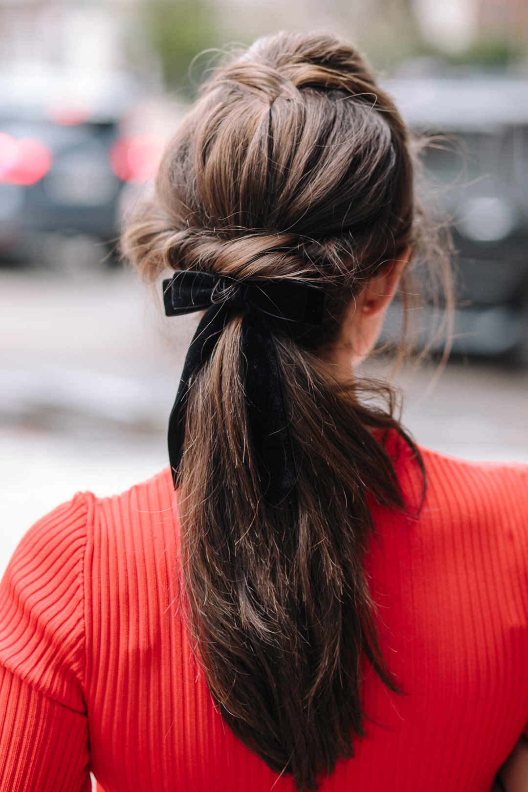 Dress up your ponytail with a cute velvet bow