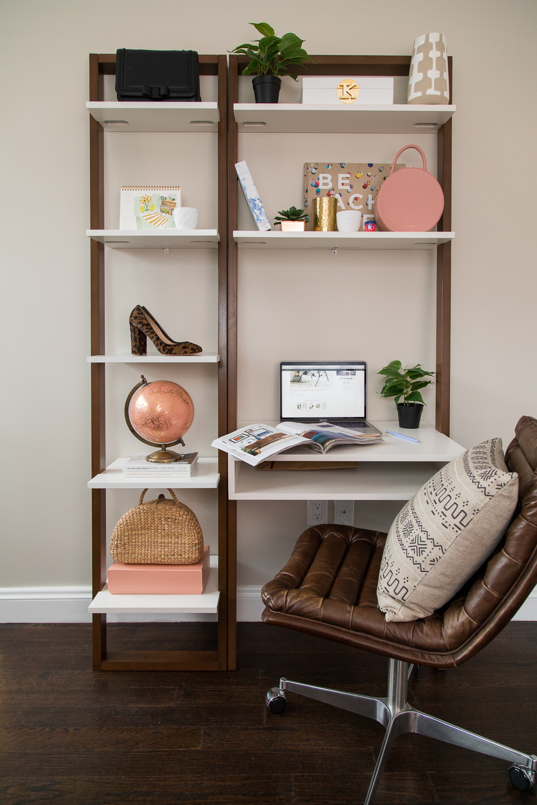 Ladder shelf + desk for small spaces
