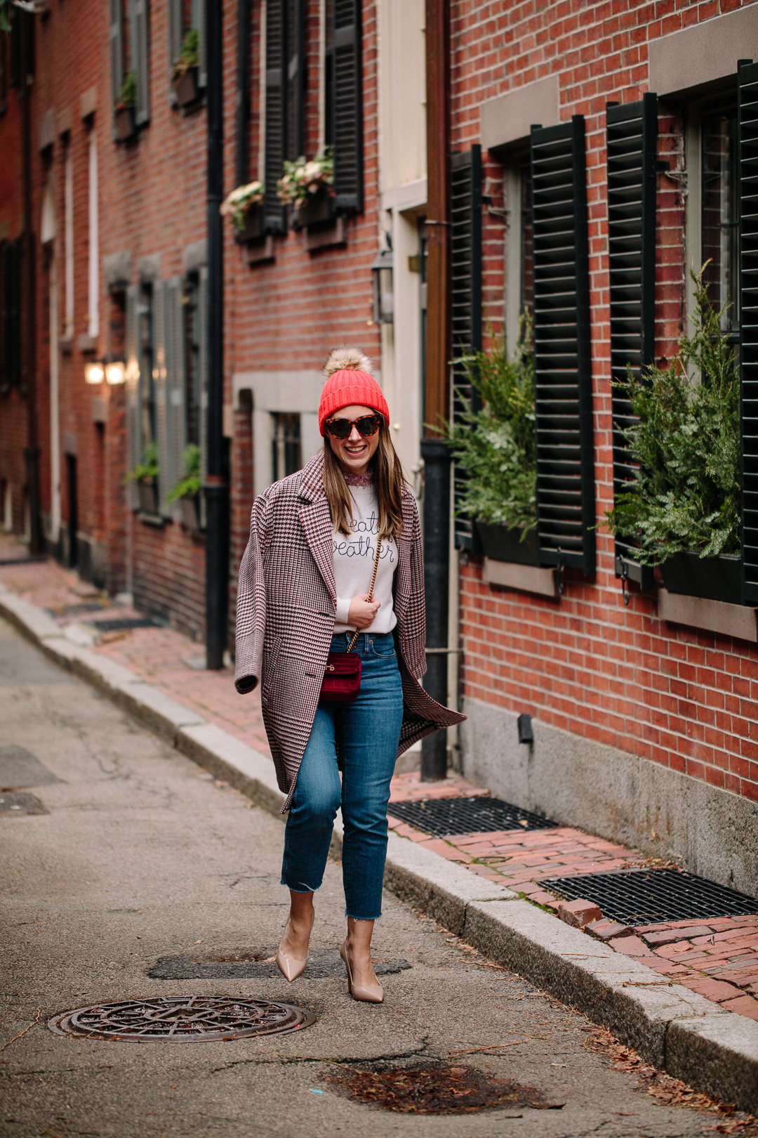 Boston blogger Kerrie M Burke shares two holiday looks featuring the same plaid coat