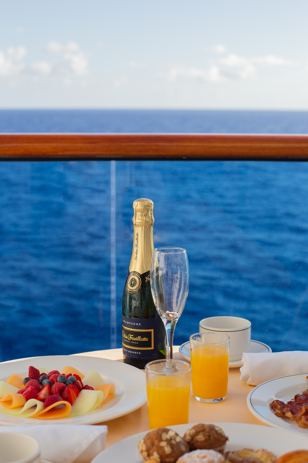 A champagne breakfast on board the Caribbean Princess