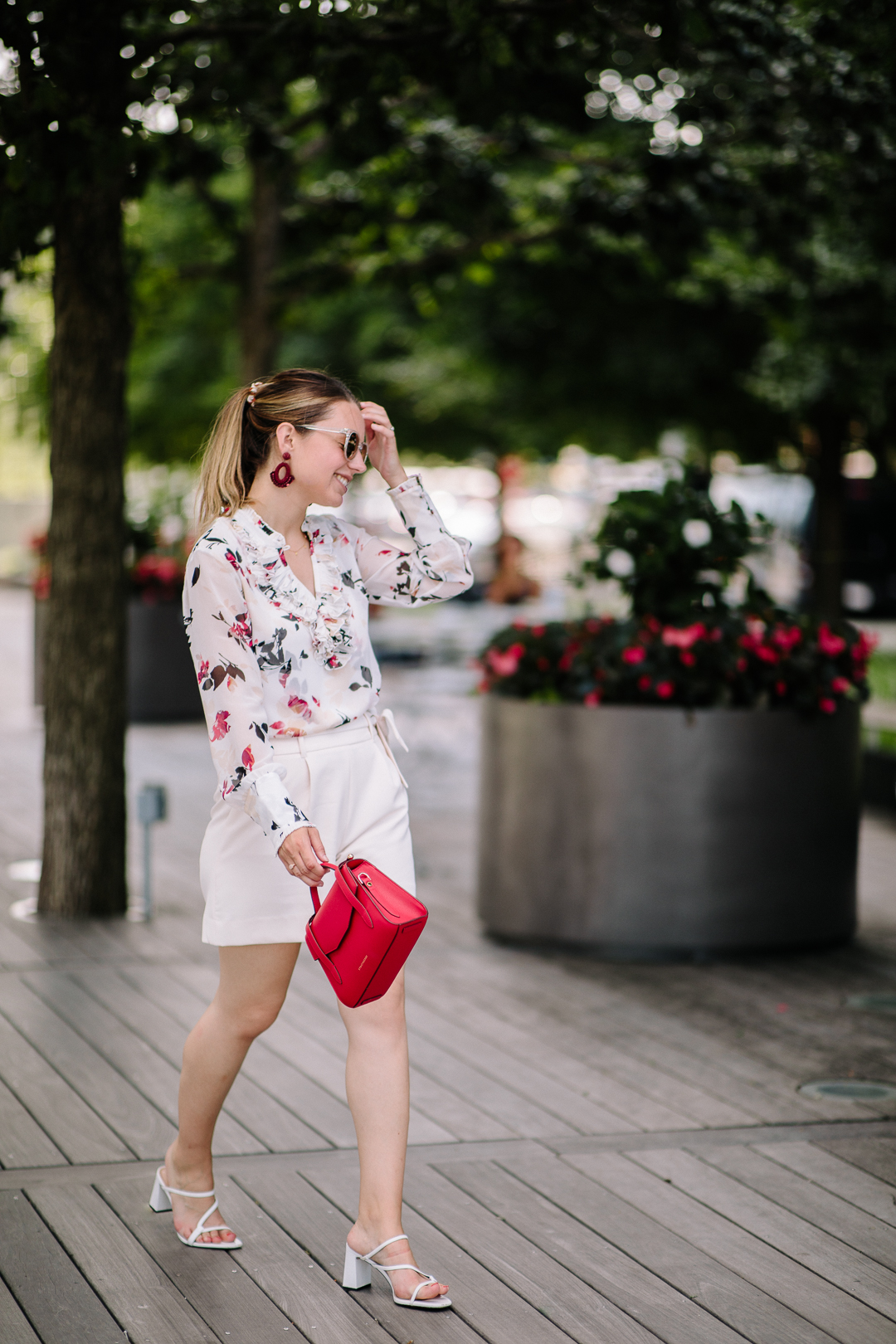 Belted shorts and ruffle blouse from WHBM - Kerrie M. Burke